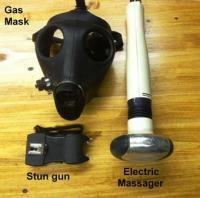 Gas mask, stun gun, electric massager